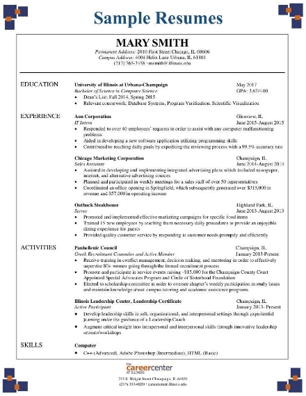 sample minimalist resume