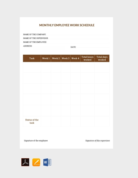 sample monthly work schedule template