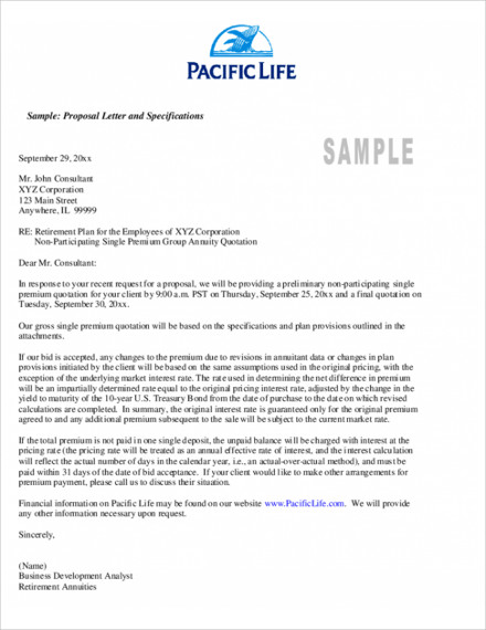 sample proposal letter and specification