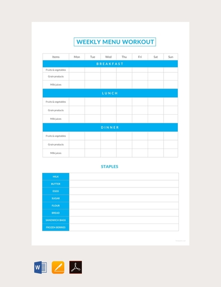 sample weekly menu workout schedule