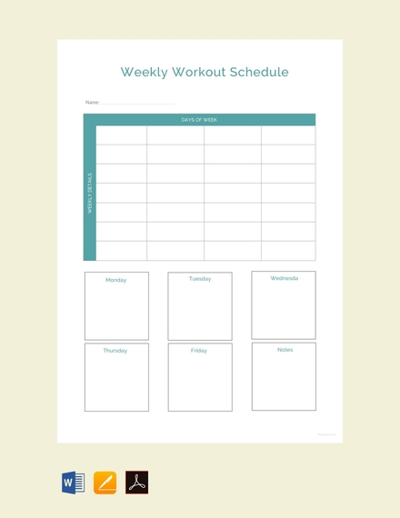 sample weekly workout schedule