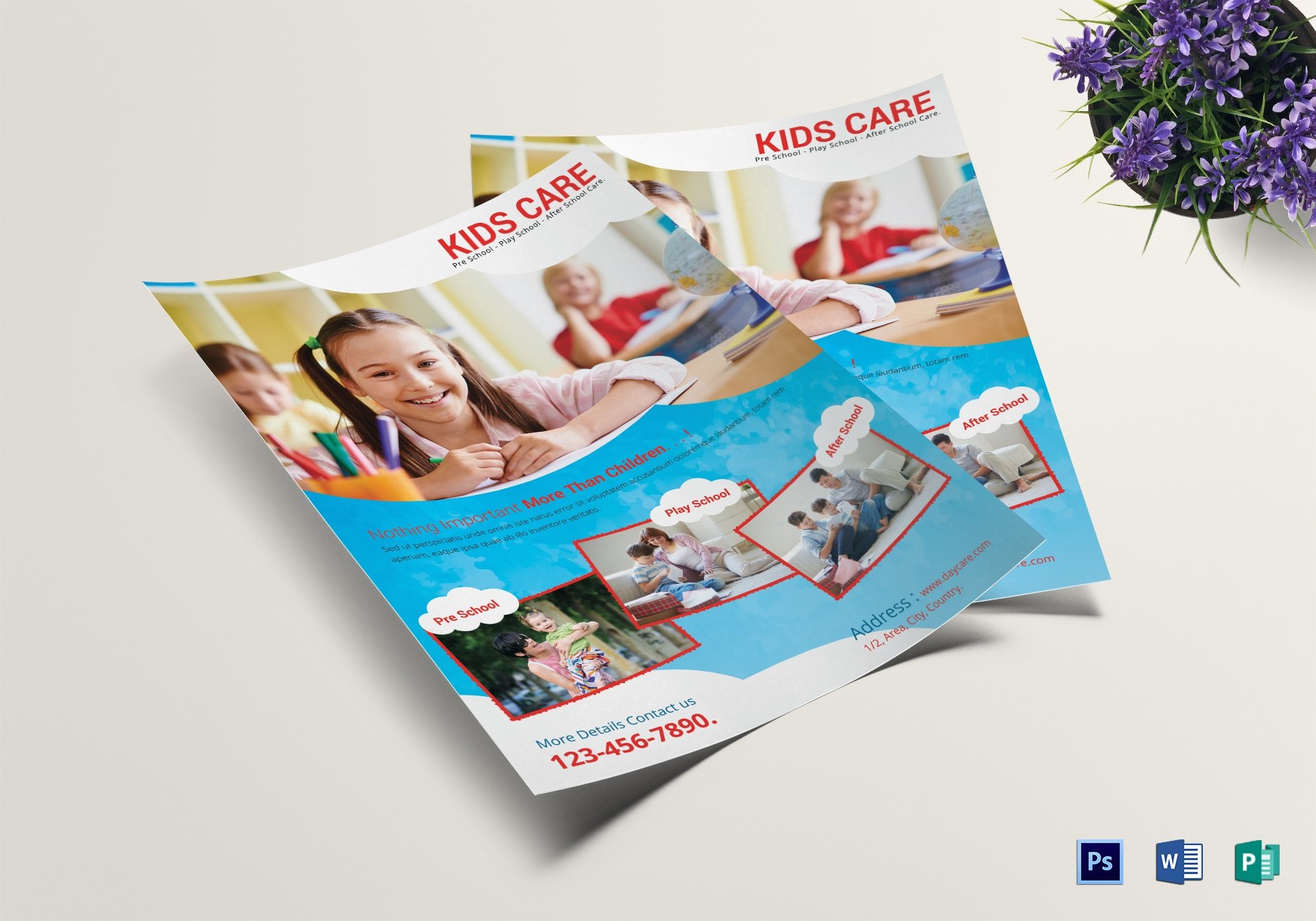 scholar kids care centre flyer template