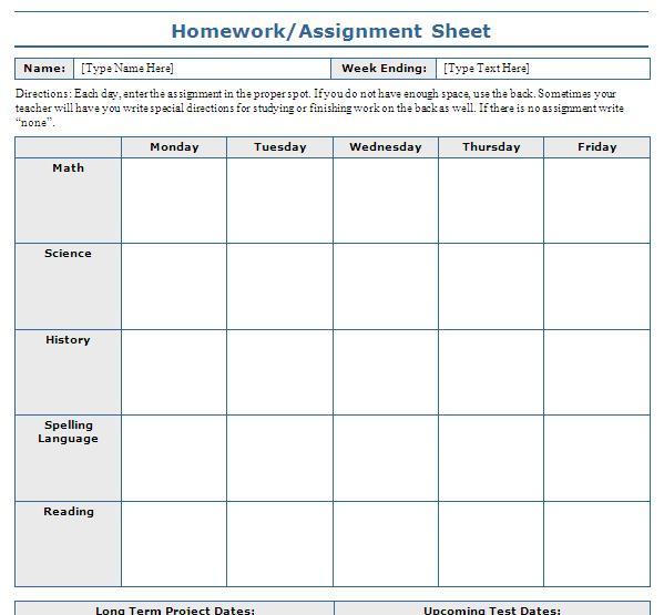 school assignment sheet template