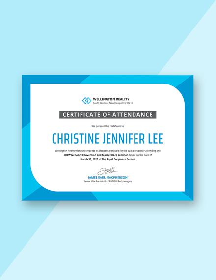 seminar attendance certificate