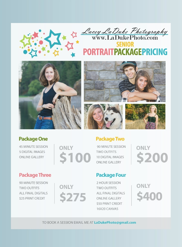 senior portrait photography flyer