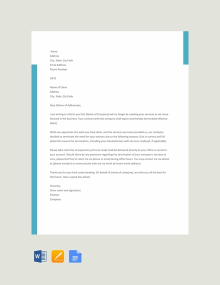 service termination letter template