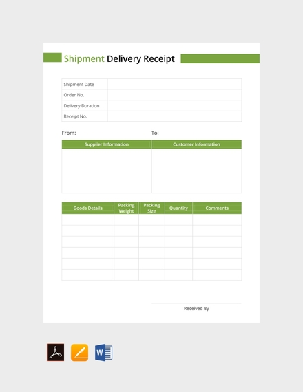 shipment delivery receipt
