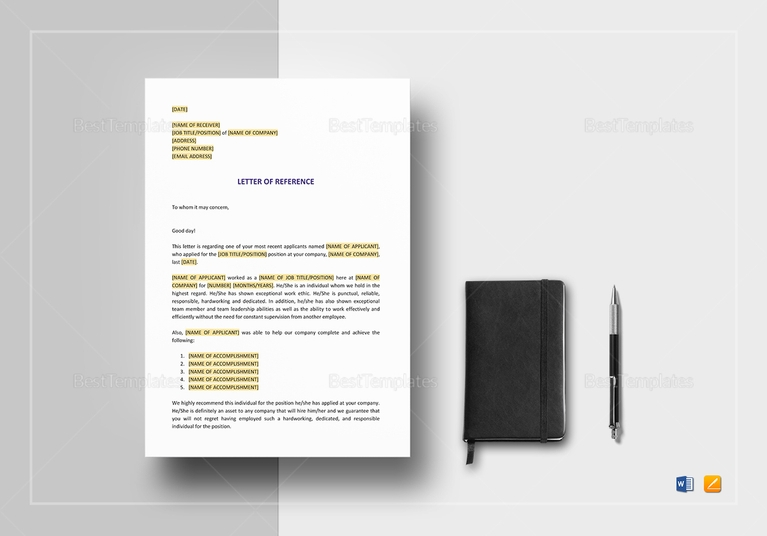 short letter of reference template