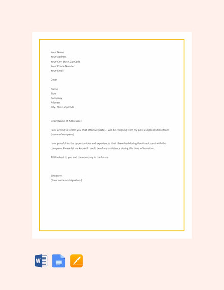 short resignation letter template