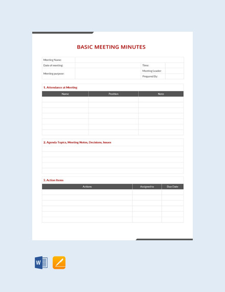 minutes of meeting writing format