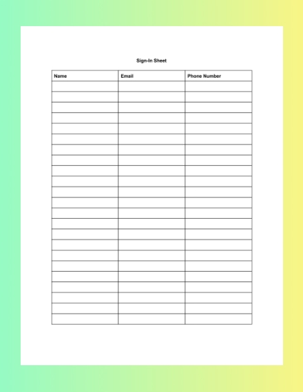 simple blank sign in sheet