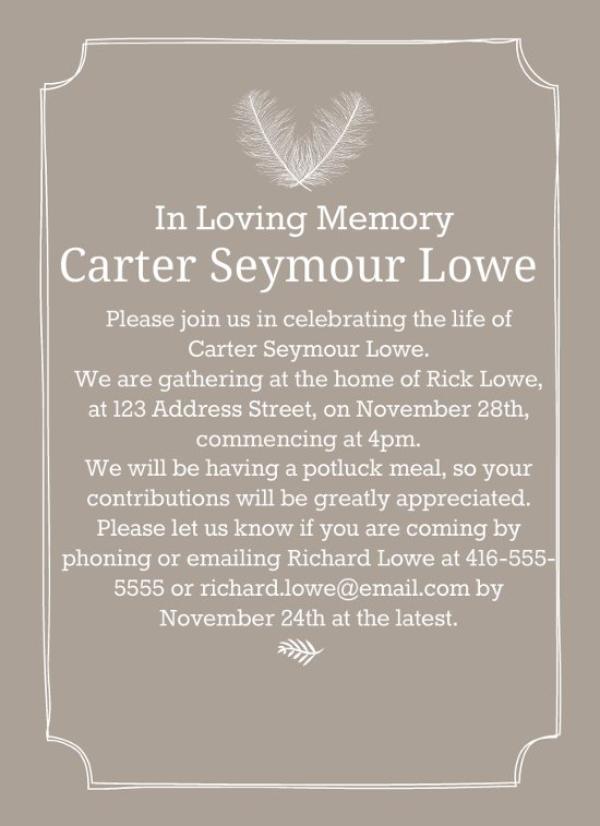 simple funeral invitation 1