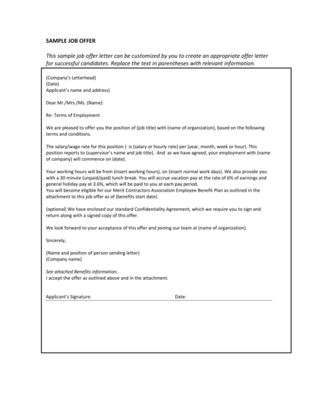 Simple Job Offer Letter Example