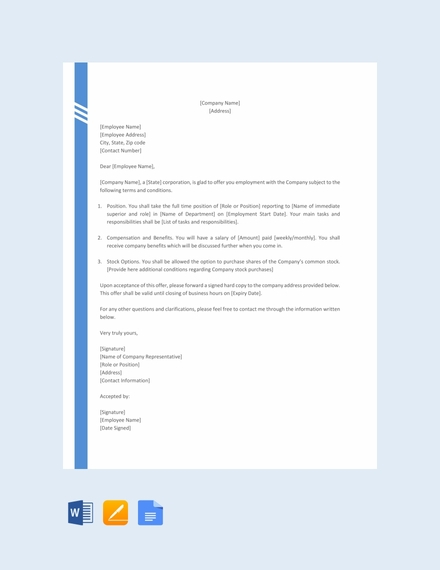 Simple Offer Letter for Corporation Format Template