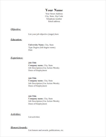 simple resume example1