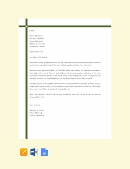 Simple Retirement Letter Template