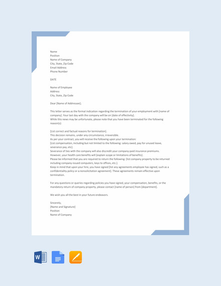 simple termination letter template