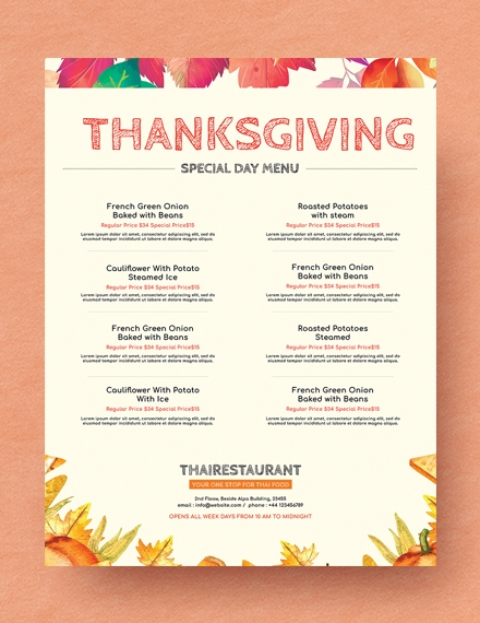 simple thanksgiving menu design