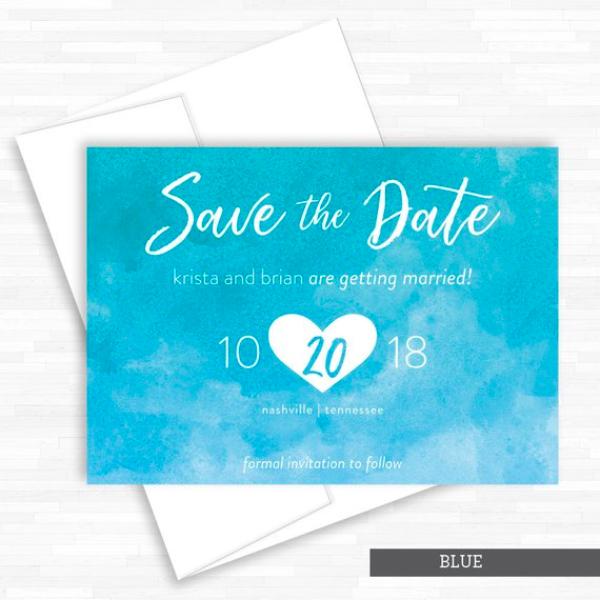 Sky Blue Save-the-Date Invitation