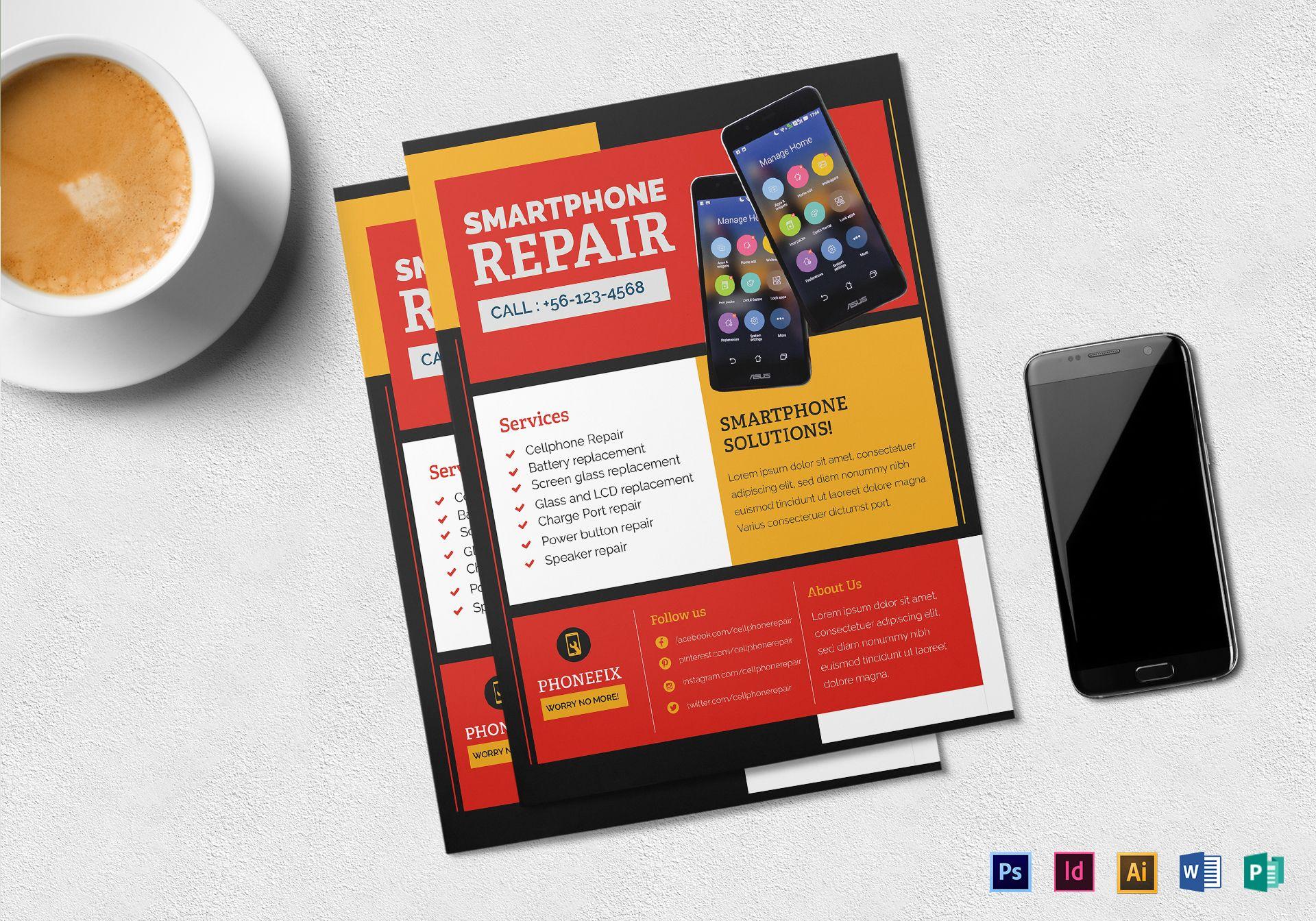 smartphone repair flyer template