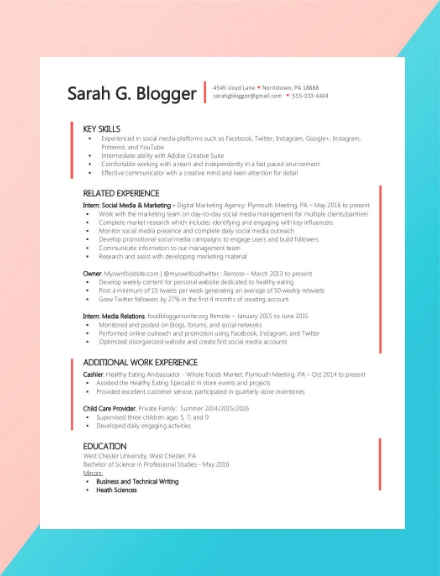 social media relations creative resume