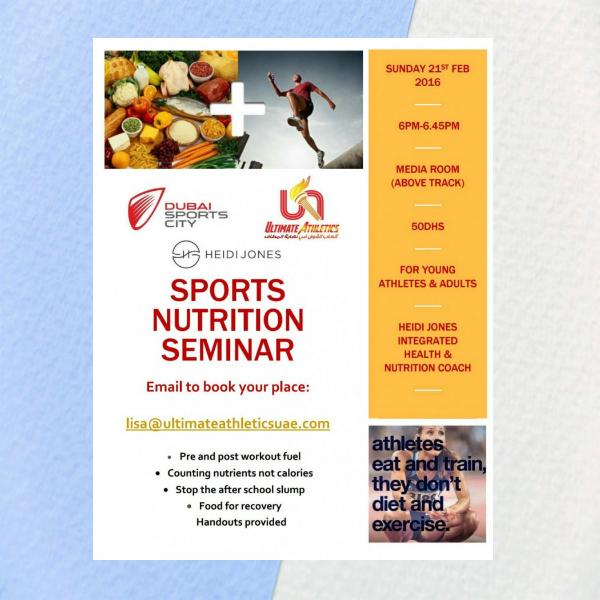 sports nutrition seminar flyer