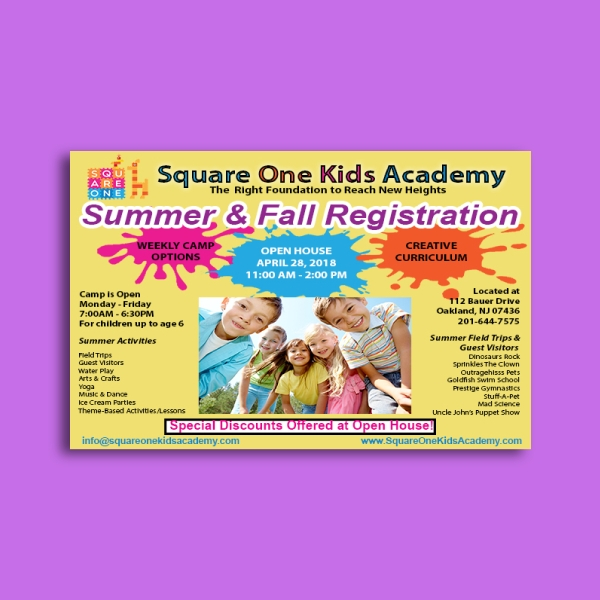 square one kids academy day care flyer