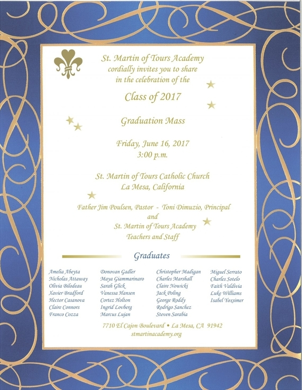 St. Martin of Tours Academy Graduation Mass Invitation