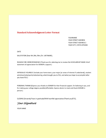 standard acknowledgement letter format