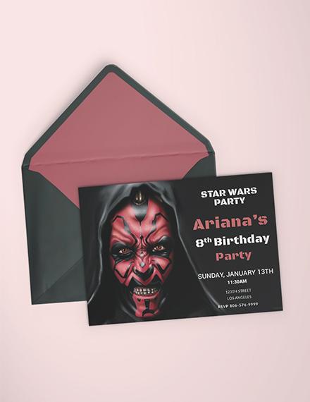 star wars birthday invitation sample