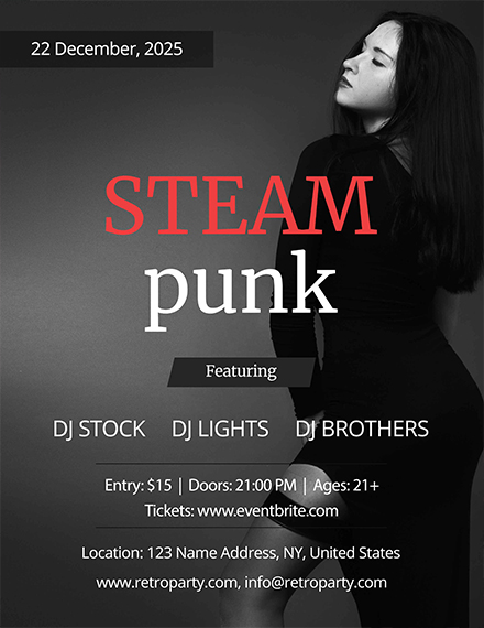 Steampunk Party Flyer