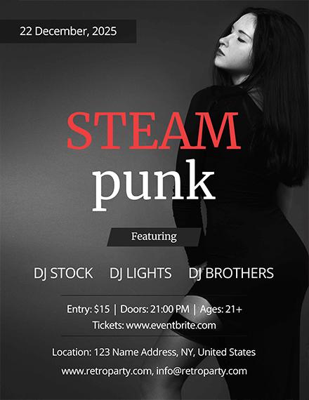 steampunk party flyer