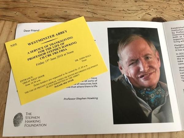 stephen hawking funeral invitation