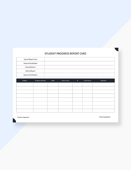 student progress report card