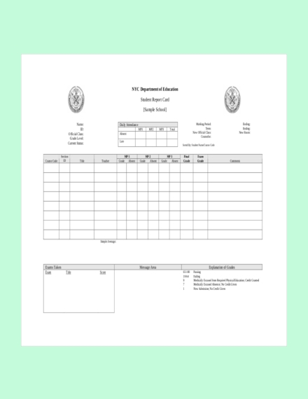 student report card
