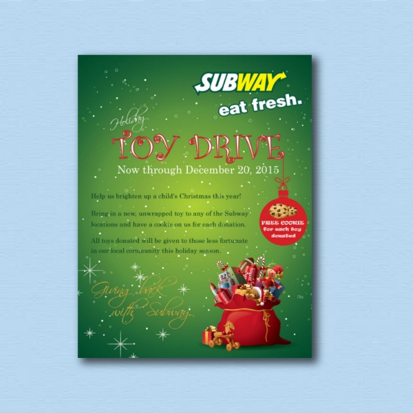 subway christmas toy drive digital marketing flyer