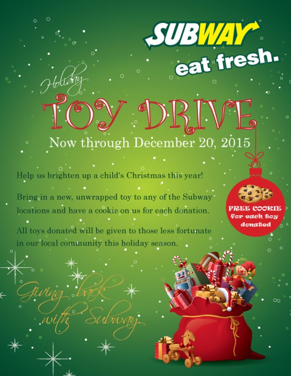 subway christmas toy drive flyer