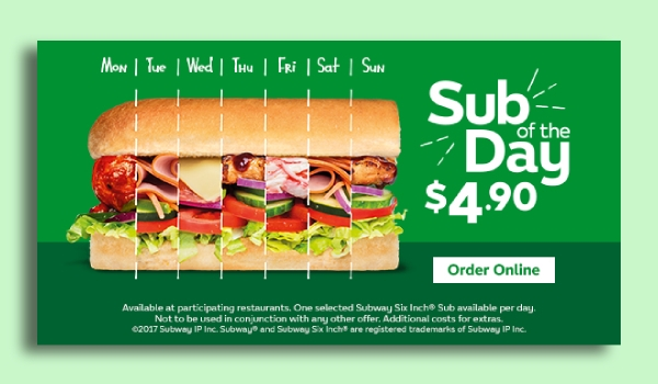 Subway Website Banner