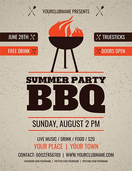 summer party bbq flyer