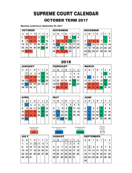 supreme court monthly schedule