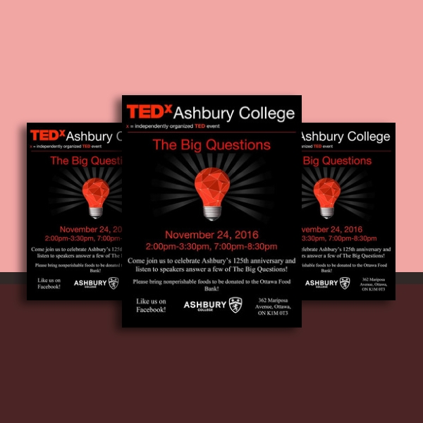 tedx ashbury college anniversary invitation