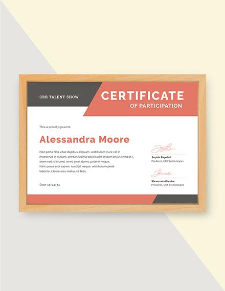 talent show participation certificate