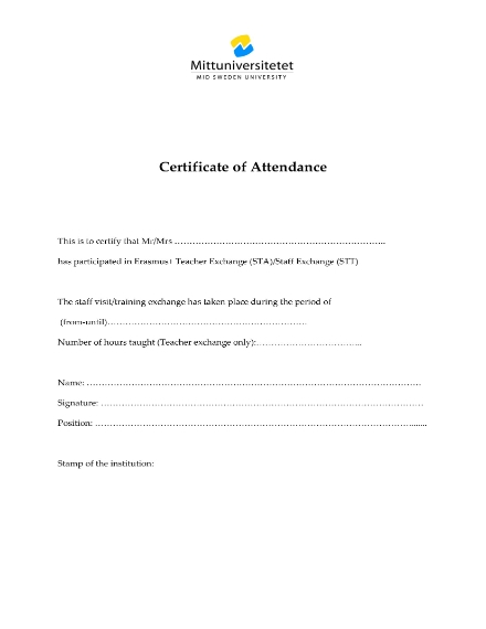 teacher staff exchange attendance certificate