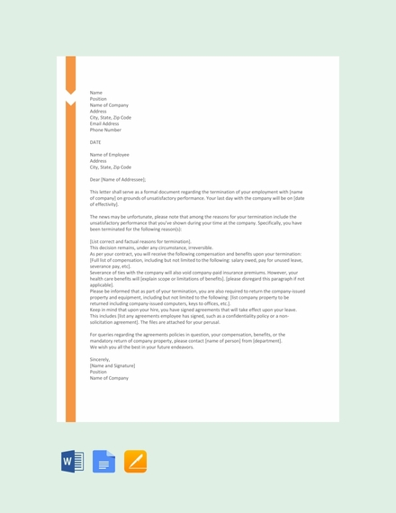 termination for poor performance letter template