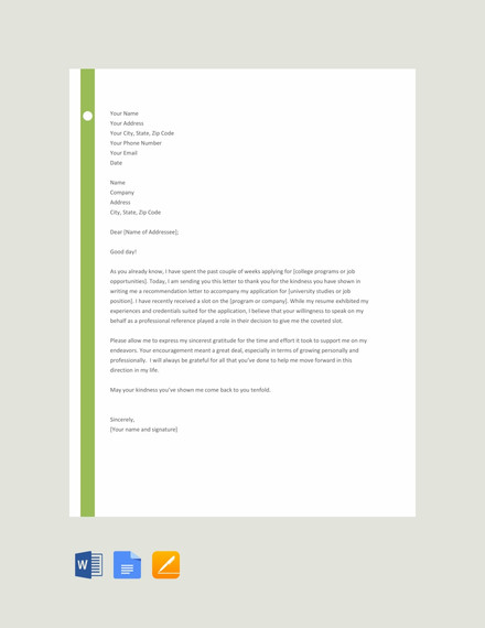 thank you letter for recommendation template