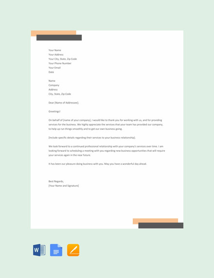 thank you letter for your service template