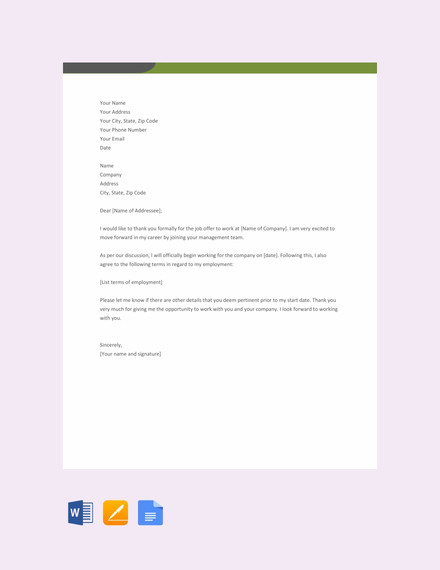 thank you letter for job offer template