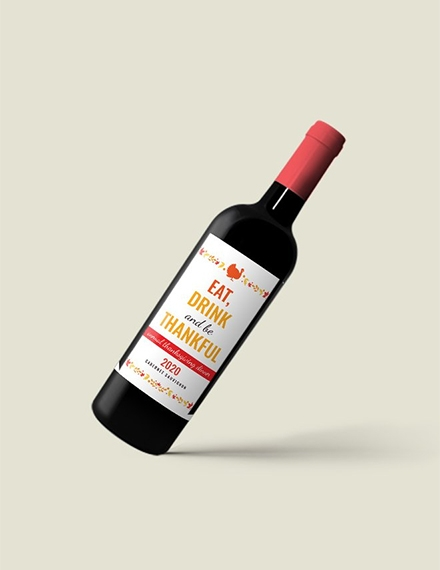 thanksgiving wine bottle label