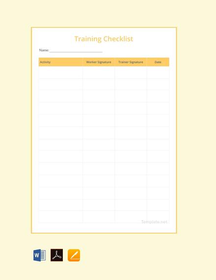 Training Checklist Template
