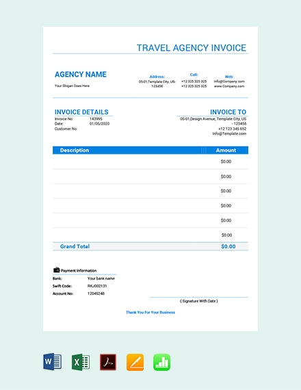 travel agency invoice template